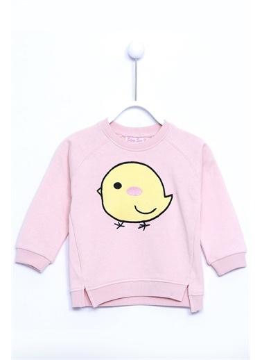 Silversun Kids Baskılı Kol Ve Etek Ucu Lastik Yırtmaç Detaylı Örme Sweatshirt Js 110897 Pudra
